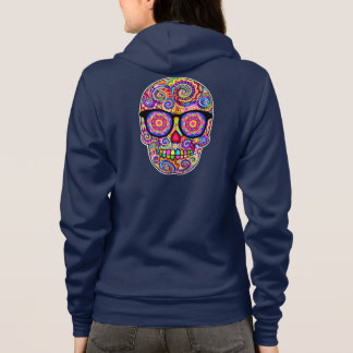 Hipster Sugar Skull Hoodie - Day of the Dead
