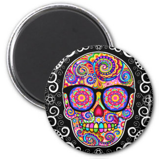Hipster Sugar Skull Magnet - Day of the Dead Art