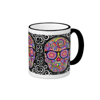 Hipster Sugar Skull Mug - Day of the Dead Art