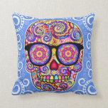 Hipster Sugar Skull Pillow - Day of the Dead Art