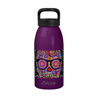Hipster Sugar Skull Water Bottle Reusable Water Bottles