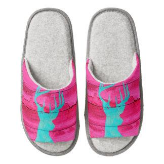 Hipster Teal Blue deer antlers neon Pink  Wood Pair Of Open Toe Slippers