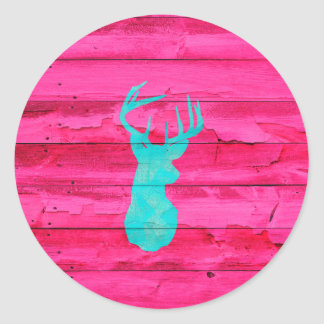 Hipster Teal Blue deer head Hot Pink Vintage Wood Classic Round Sticker