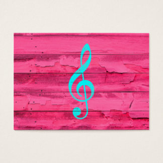 Hipster Teal Music Note Girly Pink Fuchsia Wood Business Card