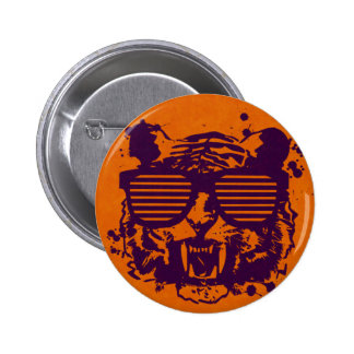 Hipster Tiger Pinback Buttons