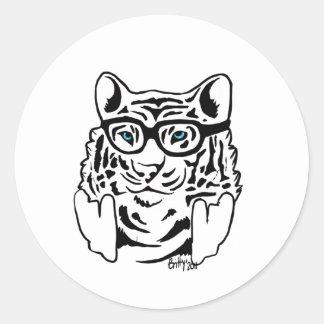Hipster Tiger Classic Round Sticker