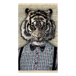 HIPSTER TIGER  Plaid Shirt Vintage Dictionary Art Business Card