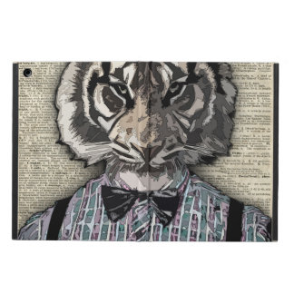 HIPSTER TIGER  Plaid Shirt Vintage Dictionary Art iPad Air Cases