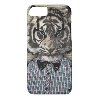 HIPSTER TIGER  Plaid Shirt Vintage Dictionary Art iPhone 7 Case