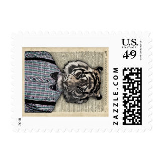 HIPSTER TIGER  Plaid Shirt Vintage Dictionary Art Postage