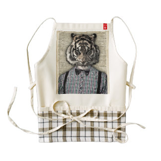 HIPSTER TIGER  Plaid Shirt Vintage Dictionary Art Zazzle HEART Apron