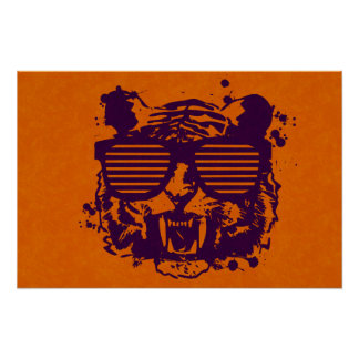 Hipster Tiger Poster