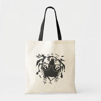 Hipster Tiger with Glasses, Black Budget Tote Bag