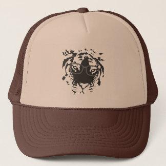 Hipster Tiger with Glasses, Black Trucker Hat