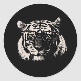 Hipster Tiger With Glasses Classic Round Sticker