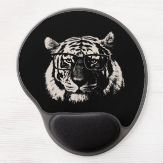 Hipster Tiger With Glasses Gel Mouse Pad