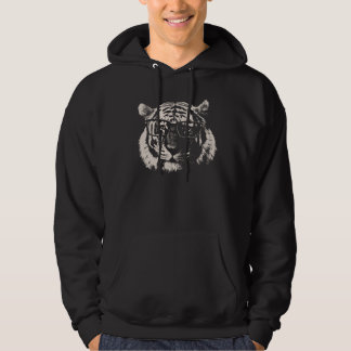Hipster Tiger With Glasses Hoodie