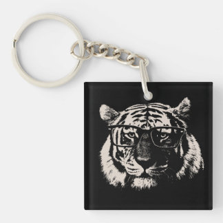 Hipster Tiger With Glasses Keychain