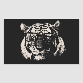 Hipster Tiger With Glasses Rectangular Sticker