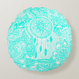 Hipster turquoise dreamcatcher floral doodles round pillow