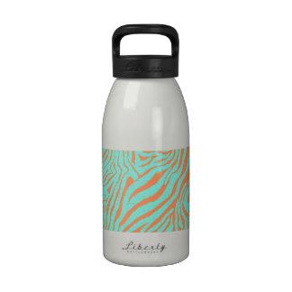 Hipster Turquoise Orange Zebra Stripes Pattern Reusable Water Bottle