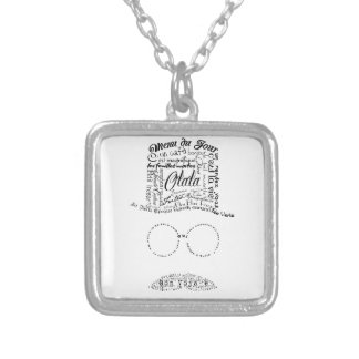 Hipster typographic man mustache glasses top hat silver plated necklace