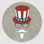 Hipster Uncle Sam Classic Round Sticker