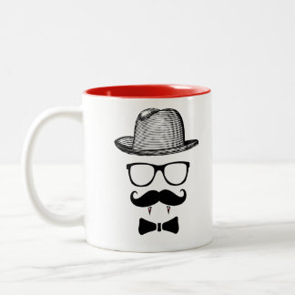 Hipster Vampire Gentleman Two-Tone Coffee Mug