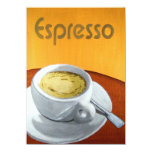 """Hipster - Vintage Espresso Coffee Painting 4.5"""" X 6.25"""" Invitation Card"""