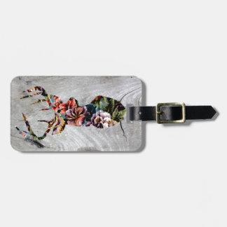 Hipster Vintage Floral Deer Head Silhouette Luggage Tag