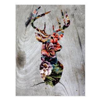 Hipster Vintage Floral Deer Head Silhouette Postcard