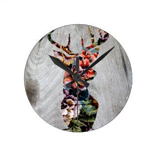 Hipster Vintage Floral Deer Head Silhouette Round Clock