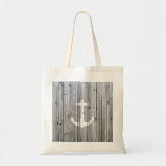 Hipster Vintage White Nautical Anchor on Gray Wood Budget Tote Bag