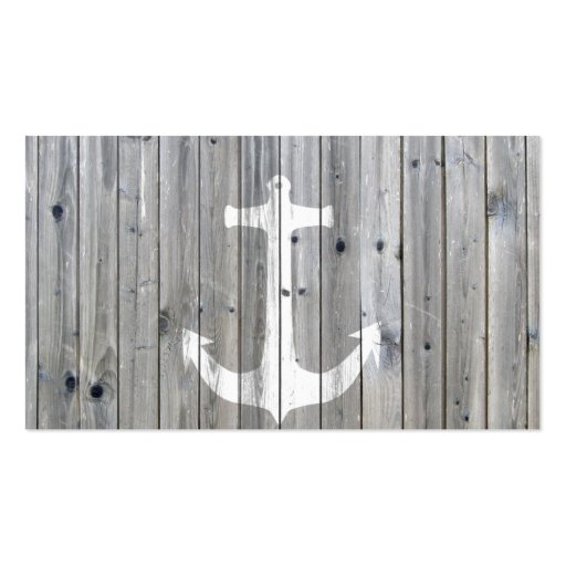 Hipster Vintage White Nautical Anchor on Gray Wood Business Cards