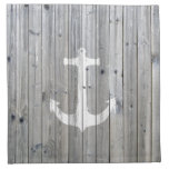 Hipster Vintage White Nautical Anchor on Gray Wood Cloth Napkin