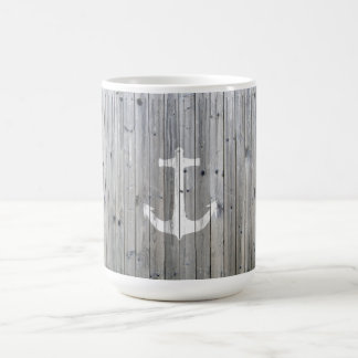 Hipster Vintage White Nautical Anchor on Gray Wood Coffee Mug