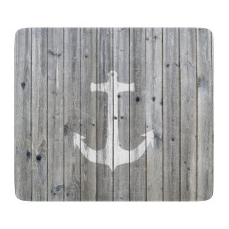 Hipster Vintage White Nautical Anchor on Gray Wood Cutting Board