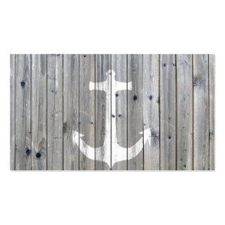 Hipster Vintage White Nautical Anchor on Gray Wood Double-Sided Standard Business Cards (Pack Of 100)