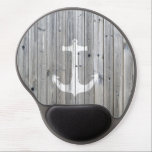 "Hipster Vintage White Nautical Anchor on Gray Wood Gel Mouse Pad<br><div class=""desc"">unique,  elegant,  hipster and whimsical design of this vector silhouette design of a white nautical anchor on a cool,  urban gray vintage wood photo print background,  This simple but yet modern design is the perfect gift for fashionista who loves traditional and rustic deco and who loves sailing!</div>"