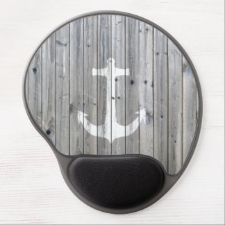 Hipster Vintage White Nautical Anchor on Gray Wood Gel Mouse Pad