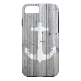 Hipster Vintage White Nautical Anchor on Gray Wood iPhone 7 Case