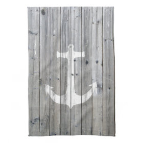 Hipster Vintage White Nautical Anchor on Gray Wood Hand Towel