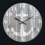 """Hipster Vintage White Nautical Anchor on Gray Wood Large Clock<br><div class=""""desc"""">unique,  elegant,  hipster and whimsical design of this vector silhouette design of a white nautical anchor on a cool,  urban gray vintage wood photo print background,  This simple but yet modern design is the perfect gift for fashionista who loves traditional and rustic deco and who loves sailing!</div>"""