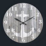 "Hipster Vintage White Nautical Anchor on Gray Wood Large Clock<br><div class=""desc"">unique,  elegant,  hipster and whimsical design of this vector silhouette design of a white nautical anchor on a cool,  urban gray vintage wood photo print background,  This simple but yet modern design is the perfect gift for fashionista who loves traditional and rustic deco and who loves sailing!</div>"