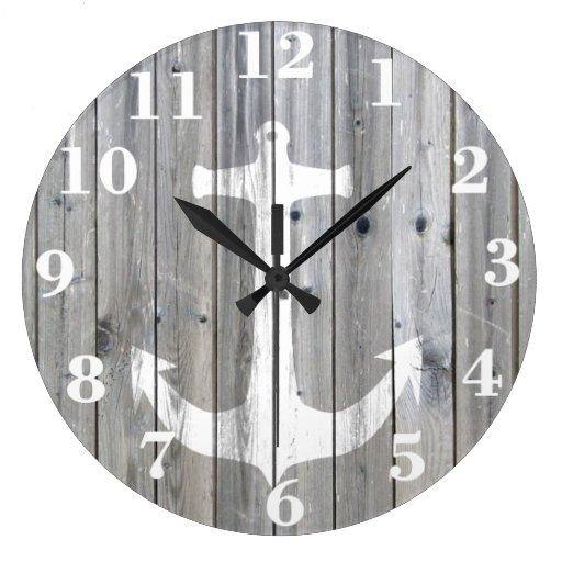 vintage white nautical anchor on gray wood large clock zazzle