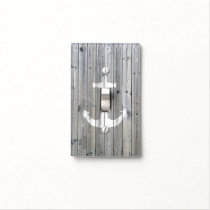 Hipster Vintage White Nautical Anchor on Gray Wood Light Switch Cover