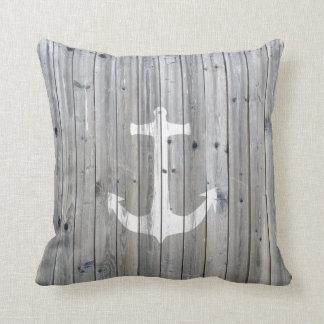 Hipster Vintage White Nautical Anchor on Gray Wood Throw Pillows