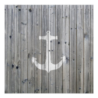 Hipster Vintage White Nautical Anchor on Gray Wood Poster