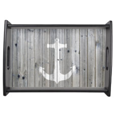 Hipster Vintage White Nautical Anchor on Gray Wood Serving Tray