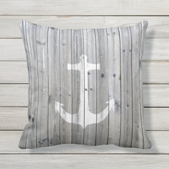 Hipster Vintage White Nautical Anchor On Gray Wood Throw